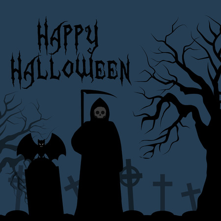 angel of death: Happy Halloween card, death with scythe. Death with a scythe in the cemetery crosses graves. bat on his shoulder angel of death. Abstract vector illustration. Text banner.