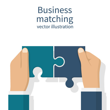 working together: Business matching concept. Connecting elements puzzle in hand businessman. Working together to solve problems. Cooperation, association, alliance companies. Vector illustration flat design.