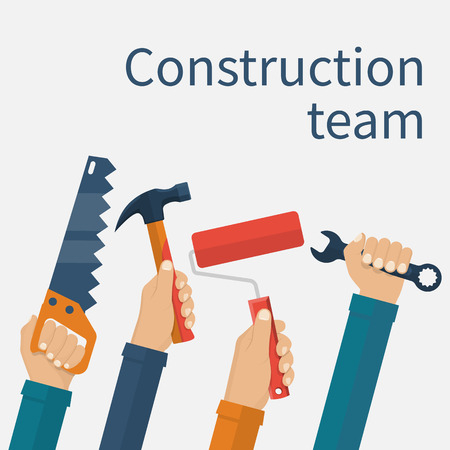 construction team: Construction team concept. Group of construction workers with a tool in hands isolated on white background. Vector illustration flat design.
