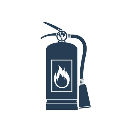 Feuerlöscher-Symbol auf weißem Hintergrund. Vektor-Illustration flache Design-Stil. Werkzeuge Wesentliche während des Feuers. Silhouette, Piktogramm Feuerlöscher.