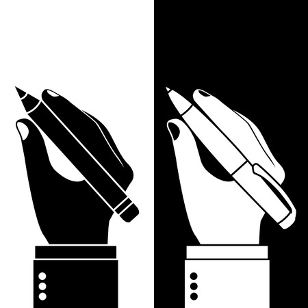 hand pen: Pencil and pen in hand. Man holding a pencil and pen, set. Vector illustration, flat design. Writer, journalist, student. Writing. Black and white icons, silhouettes isolated on background. Illustration