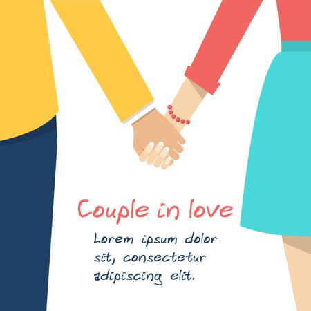 couple holding hands: Couple holding hands. Female and male hands together. Couple in love. Vector illustration flat design. Illustration