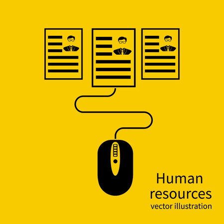 candidates: Human resources. Abstract concept mouse selects a resume. Search resume selects candidates. Personnel management. Leadership of staff chooses to work. Vector illustration flat design. Recruitment. Illustration