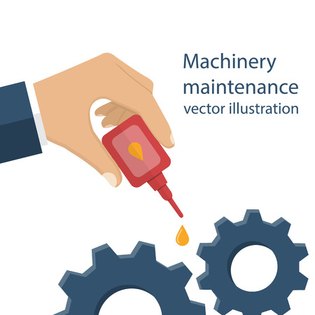 oilcan: Machinery maintenance. Repair of equipment. Worker man holding the oiler in hand, the lubricating mechanism. Vector illustration flat design. Illustration