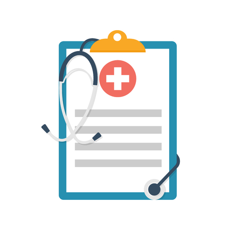 Medical clipboard. Report with stethoscope. Vector illustration flat design. Medical document. Healthcare concept. Ilustração