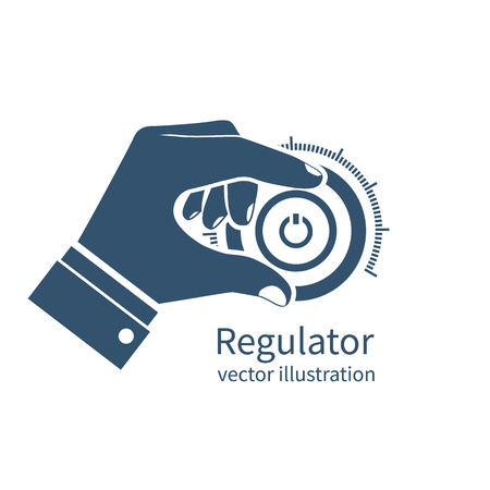 Man turns the knob. Icon regulator, controller. Adjustable, setting parameters. Hand on control button. Vector illustration flat design. isolated on white background.