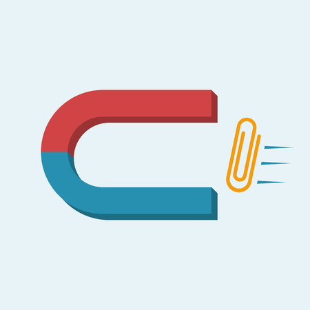 Magnet icon. Vector illustration flat design. Horseshoe magnet attracts the paper clip.