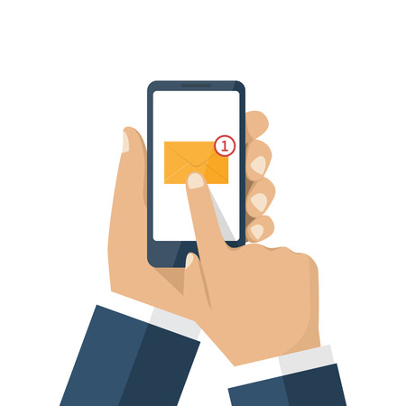 Smartphone in hands human of receiving an incoming message. Touching the screen finger, SMS icon, mail. Vector illustration flat design. Incoming e-mail.
