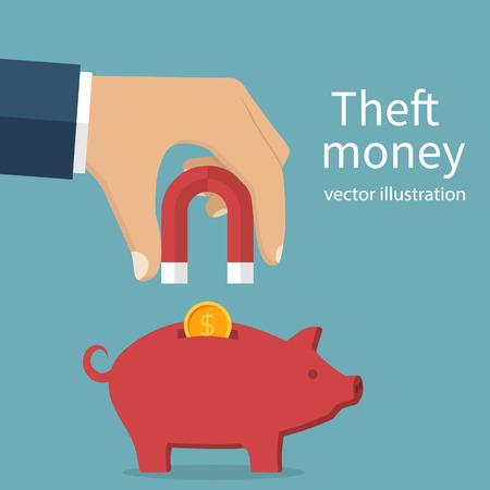 burglar man: Theft money concept. Idea of stealing cash. A man holding a magnet in hand attracting  coins from piggy bank. Vector illustration flat design. Stealing money. Burglar.