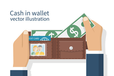 billfold: Opened wallet in man hands isolated on white background. Credit plastic card, cash. Vector illustration flat design. Taking money from purse. Cash payment.  Putting dollars.