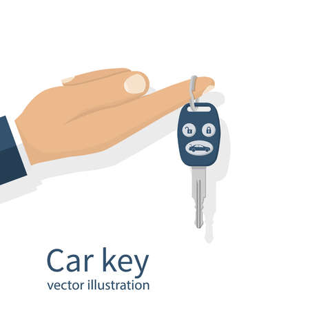 Car key holding on finger businessman. Isolated on white background. For sale, rent, gift, give cars. Vector illustration flat design. Keychain with keys from ignition. Illustration