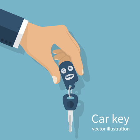 Man in a suit holding a car keys. Vector illustration flat design. Isolated on background. Maybe as a template for the sale, purchase, rental, give keys.