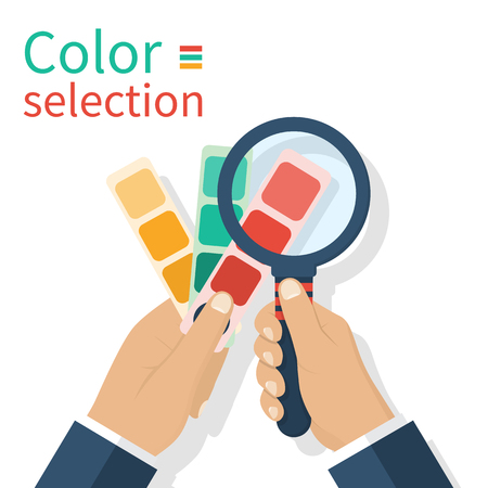 Holding palette sample in hand. Choosing color looking magnifying glass. Vector illustration flat design.