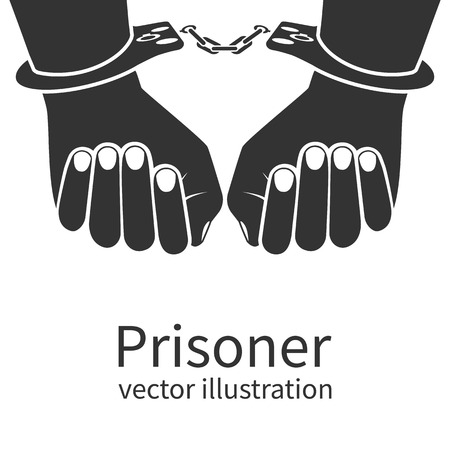 imprisoned person: Hands in handcuffs isolated black icon on white background. Man in jail prisoner. Vector illustration flat design.