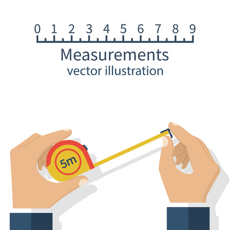 centimetre: Measuring tape in the hands of the person making the measurements. Vector illustration flat design isolated on white background.