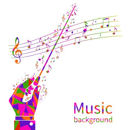 Bunte Musik Hintergrund. Abstrakte Hände des Dirigenten Orchester. Maestro, Komponist. Dirigentenstab. Musiknoten Vorlage. Vektor-Illustration flaches Design.