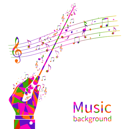 Colorful music background. Abstract  hands of conductor orchestra. Maestro, composer. Conductors stick. Musical notes template. Vector illustration flat design. Ilustração