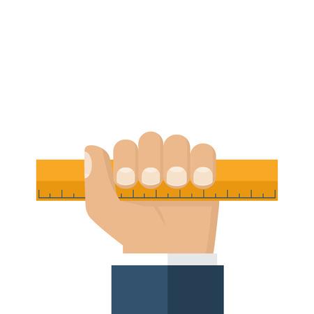 sharpness: Ruler hold in hands of men. Designer, engineer, builder. Make measurements. Vector illustration flat design isolated on white background.