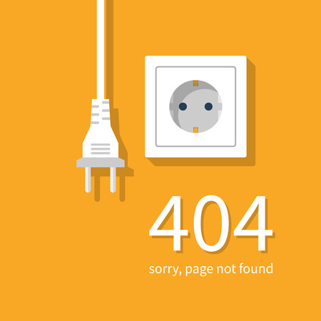 disconnect: 404 Error, page not found. Connection error. Electrical outlet and plug disabled, concept. Vector illustration flat design. Illustration
