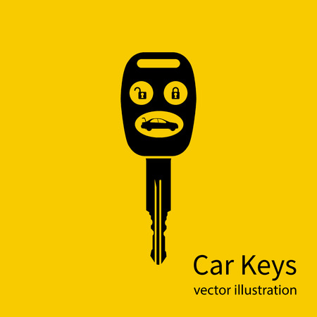 Icon key car. Isolated black pictogram on yellow background. Silhouette key auto with remote control, and control buttons. Vector illustration flat design. Illustration