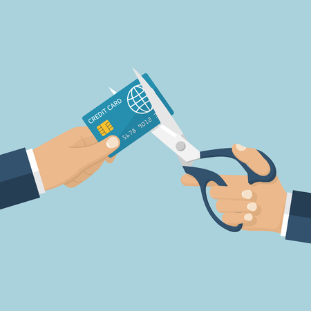 reduce: Cutting credit card. Debit card account closing. Man holding scissors in hand, cutting bank card. Reduce cost. Vector illustration flat design. Isolated on background.