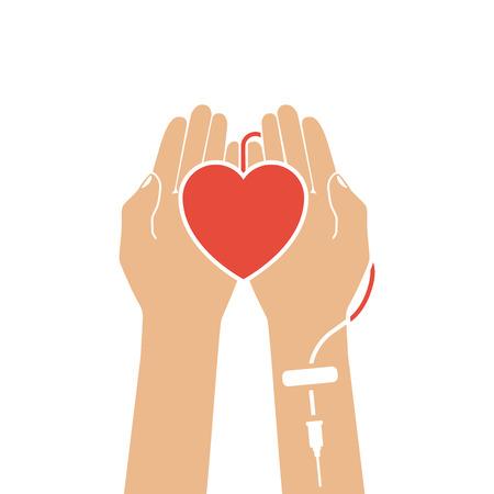 concepto de donación de sangre. Corazón en la mano, conectado a un goteo. Las ilustraciones de vectores diseño plano. Sangre día del donante. Ilustración de vector