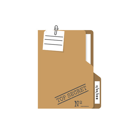 Top Secret folder. Vector illustration flat design. Isolated on white background. Documents confidentially. Paper information in file. Easy to edit, space for text.