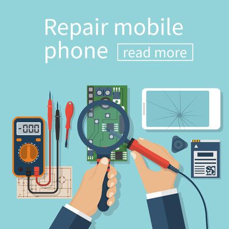 Repair mobile phone. Vector illustration, flat design. Technician men working with electronics. Desk with tools for service. Broken smartphone. Vectores