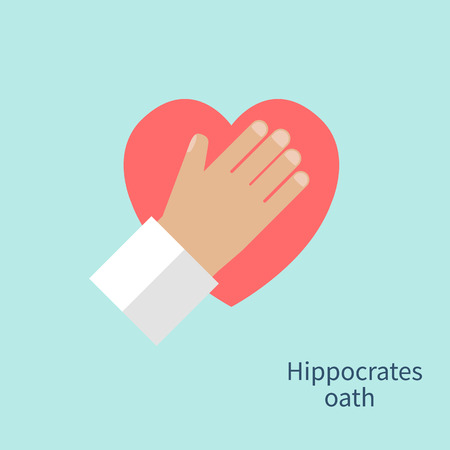oath: Hippocrates oath. Hand doctor heart as a symbol of fidelity devotion and occupation. Concept of Healthcare, medetsina. Vector illustration flat design.
