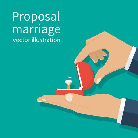 Voorstel huwelijk, vector illustratie plat ontwerp. De mens houdt in hand een open doos met een trouwring en diamant.