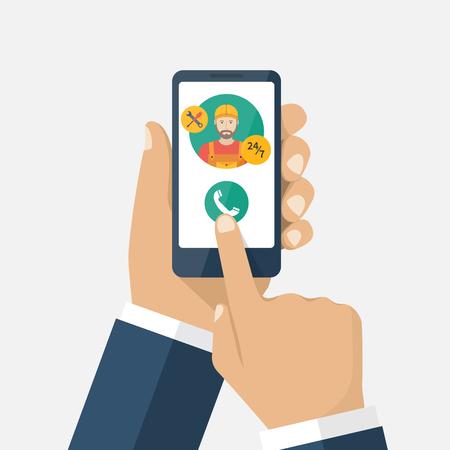 Bel met de telefoon. Bel reparateur via app op smartphone. Vector illustratie plat ontwerp. Geïsoleerd op witte achtergrond