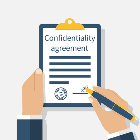 signing papers: Confidentiality agreement. Clipboard with documents in the hands of men. Pen in hand signing papers. Vector illustration flat design. Isolated on white background.