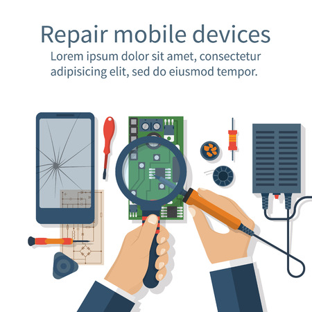 Repair mobile phone. Vector illustration, flat design. Technician men working with electronics. Desk with tools for service. Broken smartphone. Stock Illustratie
