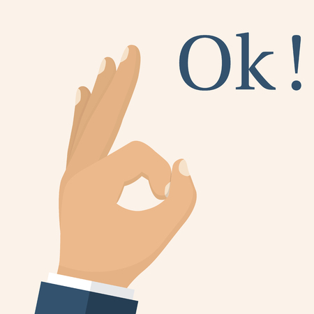 okey: Ok hand. Man gesturing fingers. OK sign as symbol of the consent. Vector illustration flat design. Isolated on white background.