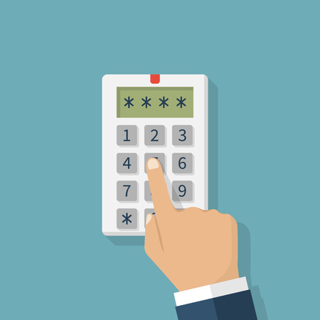 keypad: Human hand presses on the button, entering security system code. Combination  PIN code on keypad. Password house alarm. Digital combination lock wall. Vector illustration flat design.