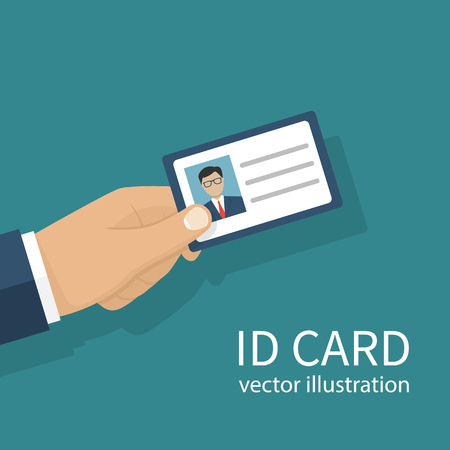 access control: Human holds identification card in hand. With permit. Vector illustration, flat design style. Personal identification. Access control. Sign id card. Personal document.