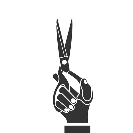 Scissors holding in hand, black icon isolated on white background. Vector illustration flat design.