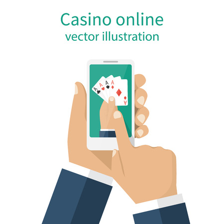 gambler: Casino online concept. Man gambler holding a phone in hand playing cards online. Modern technologies. Card game of poker. Illustration