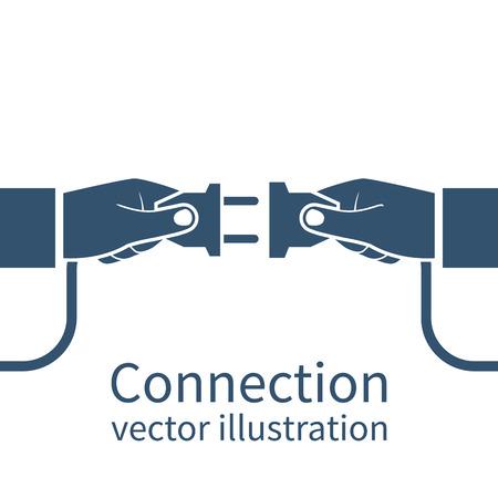 接続の概念、白い背景で隔離のアイコン。パートナーシップ。ベクトル イラストのフラット デザイン。接続するビジネスマンは、手でプラグとコンセントを保持します。協力相互作用。