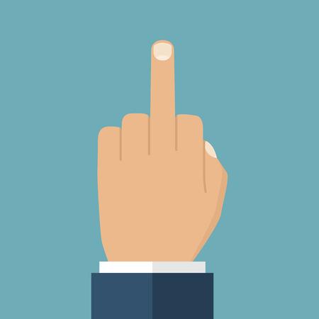 obscene gesture: Human hand gesturing with middle finger. Offensive gesture. Vector illustration, flat design. Illustration