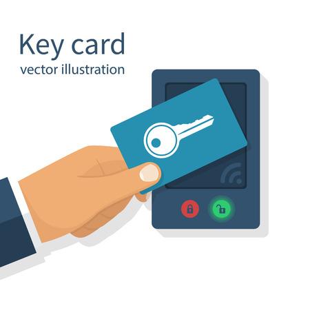 액세스 제어. 손에 남자 키 카드입니다. 문을 열고 닫고 잠그고 열 수있는 전자식 시스템. 터치 센서. 시스템 안전, 보호. 벡터 그림 평면 디자인입니다.