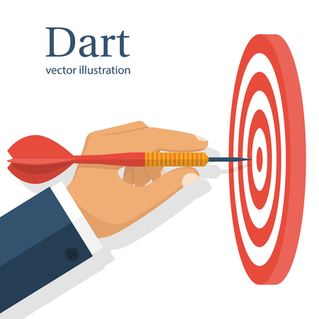 achieving: Dart in hand. Vector illustration flat design. Isolated on white background. Throwing dart. Accurate throw. Achieving the goal. Concept of success.