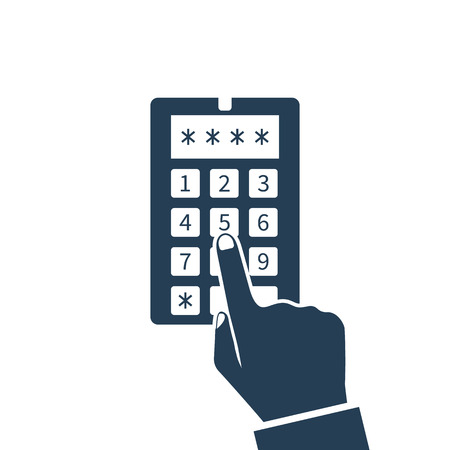 keypad: Human hand presses on the button, entering security system code, icon. Combination  PIN code on keypad. Password house alarm. Digital combination lock wall. Vector illustration flat design.
