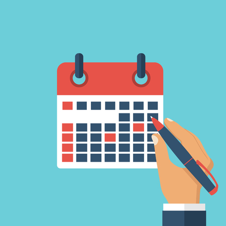 reminders: Mark calendar, planning, record with reminders. Calendar in hands of a businessman with the plan for month.  Organizer. Vector illustration. Flat design style.