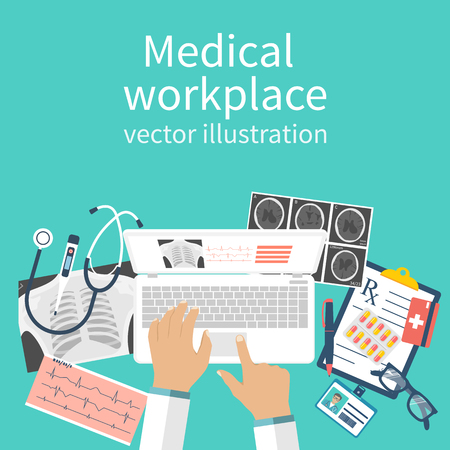 Doctor with laptop his desk studying documents of diagnostic research. Workplace doctor at table. Top view of the workplace, medical equipment. Flat design vector. Medical concept. Background