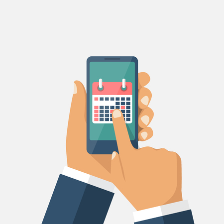 Planning on smartphone. Mark calendar. Phone in hands of a businessman with the plan for month. Organizer. Vector illustration. Flat design style.