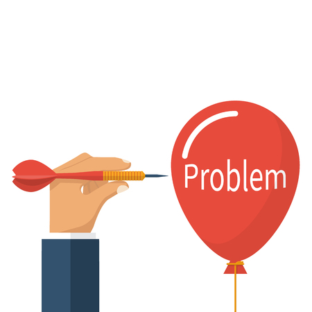 Problem solving, business concept. Acute dart darts in businessman hands prick a balloon. Vector illustration flat design. Isolated on white background.