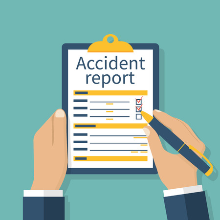 report form: Accident report form. Man write application, pen and clipboard in hand. Template. Vector illustration flat design. Isolated on background.