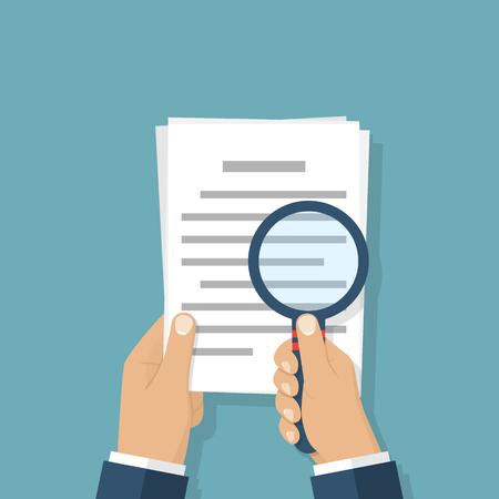 Loupe à main et document papier. Concept d'affaire. Vecteurs