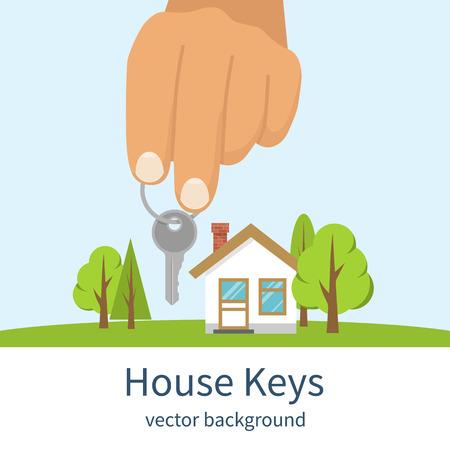 house for sale: Hand giving house keys. Vector illustration flat design. Real estate agent handing over house keys. Template for sale, rent home.